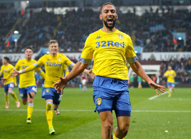 Kemar Roofe celebrates scoring Leeds' third goal on Sunday.