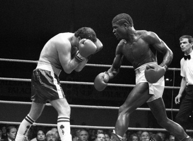 Sean Mannion in action against Errol Christie in 1986.