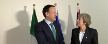 Britain's Prime Minister Theresa May shakes hands with Irish Prime Minister Leo Varadkar in Brussels. 13 December.
