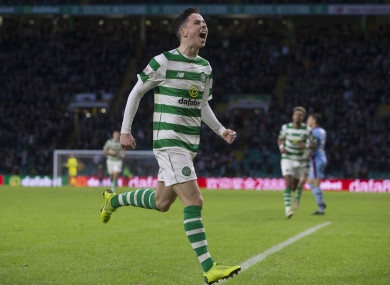 Mikey Johnston celebrates after opening the scoring for Celtic in today's win over Dundee.