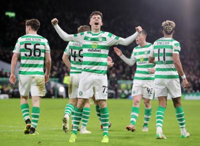 Celtic's Michael Johnston celebrates scoring his sides third goal.