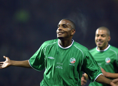 Clinton Morrison celebrates scoring for Ireland in 2003.