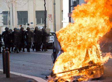 High school students demonstrated against education reforms in Marseille on Thursday.