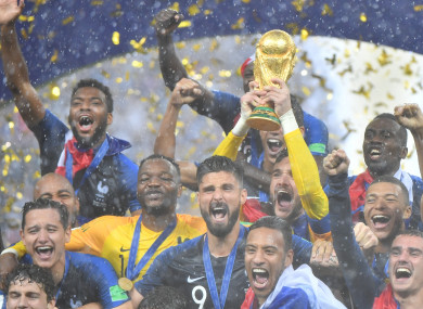 France celebrate winning the World Cup.