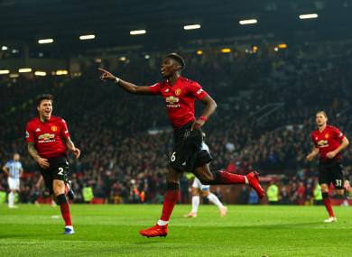 Pogba celebrates his first goal.