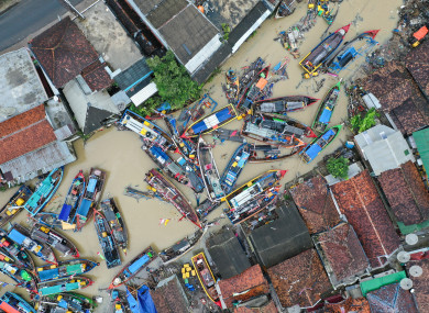 Fishing boats destroyed by the tsunami in Teluk village of Pandeglang in Banten Province, Indonesia.