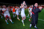 Rory Best (right) and the Ulster players after last Friday's win.