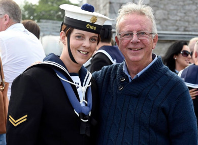 Katie O'Leary, Leading Seaman with the Irish Naval Service, and her father Tony O'Leary.