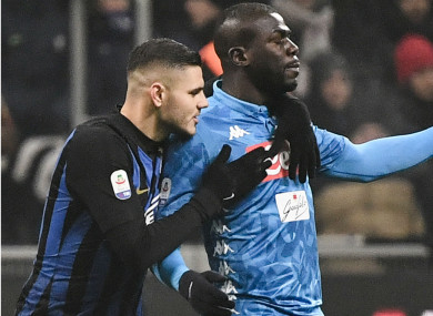 Kalidou Koulibaly was sent off against Inter.