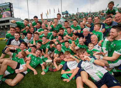 Limerick hurlers celebrating August's victory over Galway.
