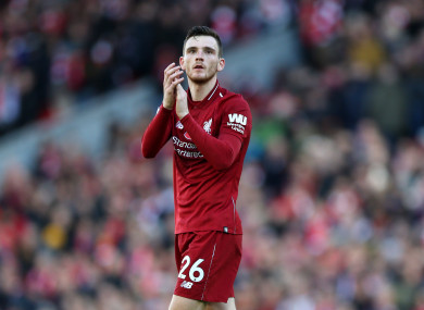 Liverpool defender Andy Robertson.
