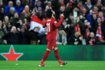 Salah celebrates giving his side the lead at Anfield.