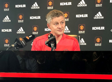 Ole Gunnar Solskjaer addresses the media at a press conference as the new Man United caretaker manager.