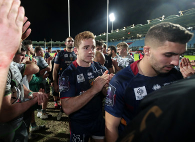 Jackson leaves the field after defeat to Connacht.