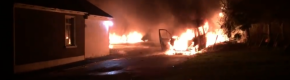 Eight injured, vehicles torched and dog killed after raid on repossessed farmhouse in Roscommon