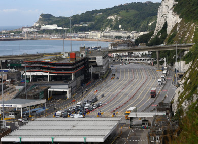 Traffic at the Port of Dover in Kent