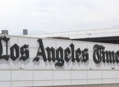 The facade of the Los Angeles Times newspaper building in LA, California.