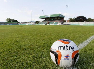 A view of the pitch at Croft Park where Blyth Spartans play.