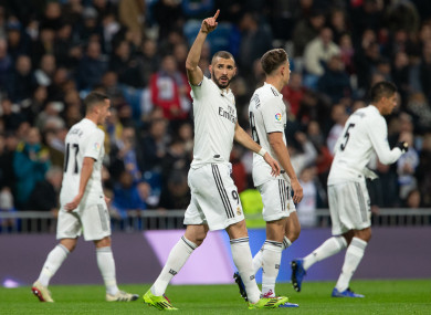 Karim Benzema celebrates the only goal of the game at the Santiago Bernabeu.