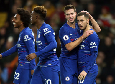 Chelsea's Eden Hazard (right) celebrates scoring his side's second goal of the game.