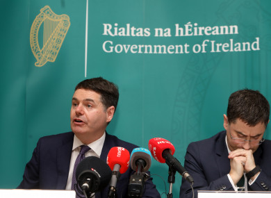 Minister Donohoe addressing reporters this afternoon.