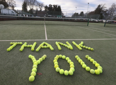 Tennis balls laid out at Dunblane Tennis Club in Andy Murray's home town.