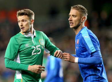 Anthony Pilkington (left) playing for Ireland against Slovakia in March 2016.