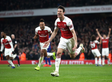Arsenal's Laurent Koscielny celebrates scoring his side's second goal of the game.