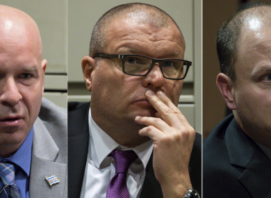 Former Chicago Police officer Joseph Walsh, left, former detective David March and former officer Thomas Gaffney.