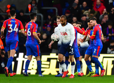 Crystal Palace players celebrate a goal.