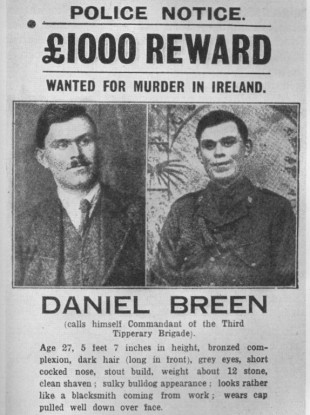 A wanted poster for Dan Breen released after the ambush.