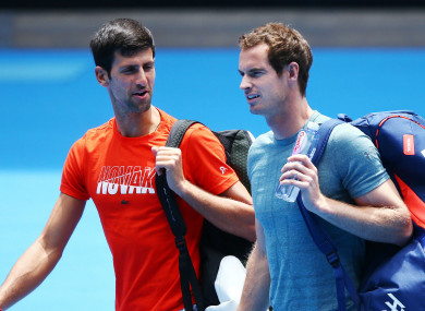 Novak Djokovic and Andy Murray at the Australian Open