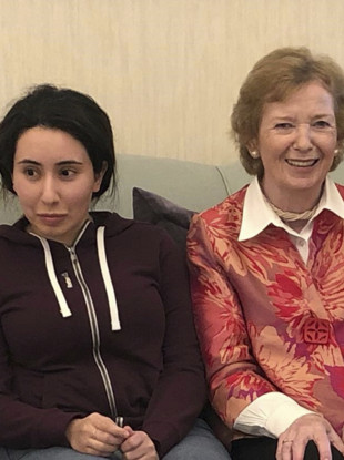 An image of Princess Latifa and Mary Robinson released by the UAE Ministry of Foreign Affairs.