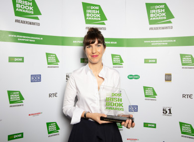 Emilie Pine with her award at the An Post Irish Book Awards earlier this year.