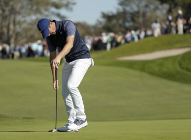 Rory McIlroy reacts after missing a putt on the second hole on the South Course at Torrey Pines Golf Course.