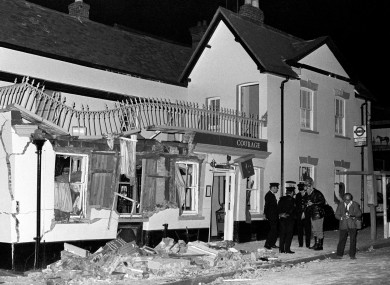 The aftermath of the explosion at the Horse and Groom pub.