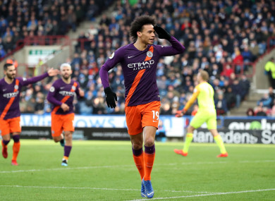 Manchester City's Leroy Sane celebrates scoring.