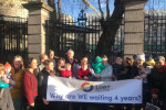 Families protest outside Leinster House today.