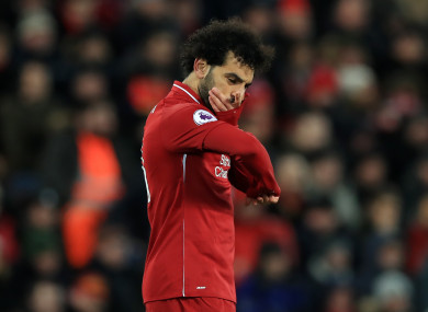 Mo Salah in action during Liverpool's Premier League clash with Leicester.