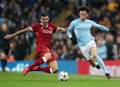 Liverpool's Dejan Lovren and Manchester City's Leroy Sane (file pic).