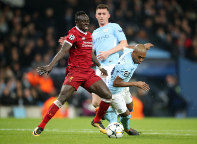 Liverpool's Sadio Mane in action against Man City in 2018 (file pic).