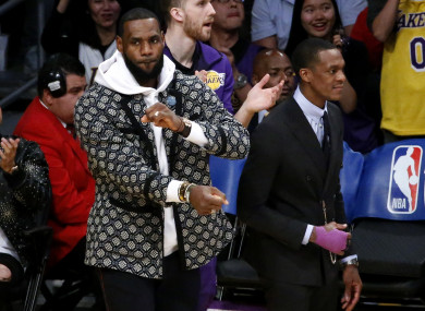 LeBron James looks on at the NBA clash between the LA Lakers and Oklahoma City Thunder.