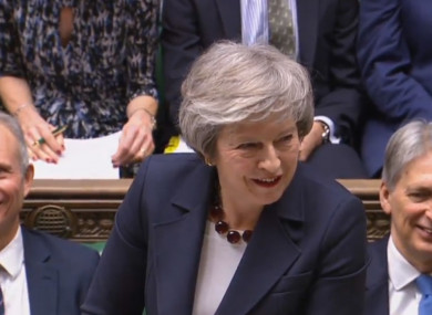 Theresa May at Prime Minister's Questions yesterday