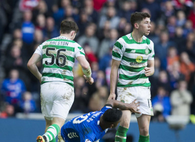 Rangers star Alfredo Morelos grabs at the groin area of Celtic's Ryan Christie, one of three incidents for which he escaped punishment.