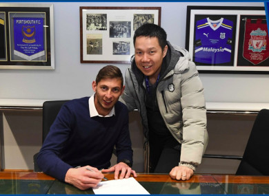 Cardiff CEO Ken Choo (right) with Emiliano Sala.