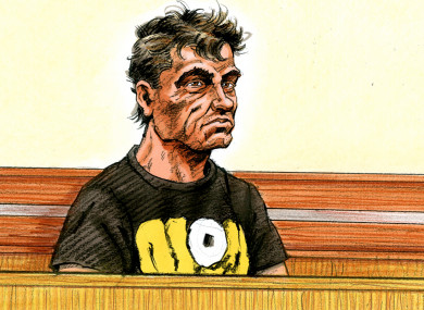 A court artist sketch by Paul Tyquin of Savas Avan who faced Melbourne Magistrates Court today