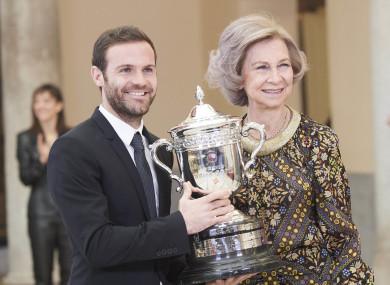 Queen Sofia presents the Queen Sofia Award for fair play to Juan Mata in Madrid.