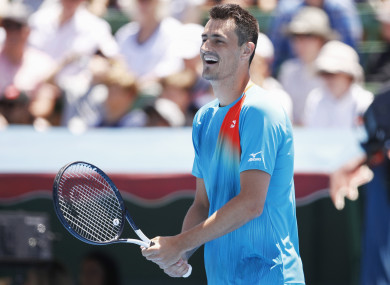 Bernard Tomic reacts during his Kooyong Classic win over Nick Kyrgios.