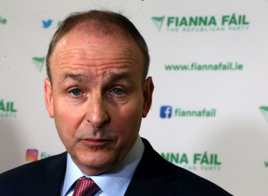 Fianna Fail party leader Micheal Martin speaking to the media at their party conference at Citywest Hotel Dublin