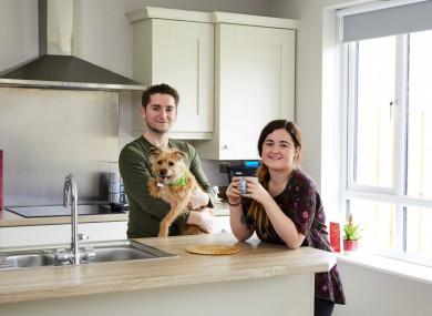 Bernard, Kim and Daisy in their kitchen at Taylor Hill, Balbriggan.
